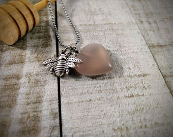 Grey Agate Bee Love Charm Necklace, Bee jewelry, Save the bees, gemstone jewelry, crystal jewelry, spiritual stones