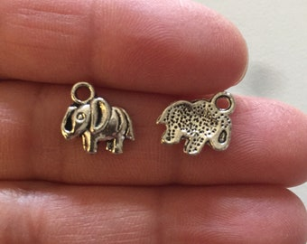 10 Dainty Elephant Charms Antique Silver Tone