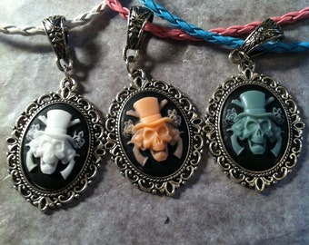 Skull with Crossed Guns Cameo Necklace