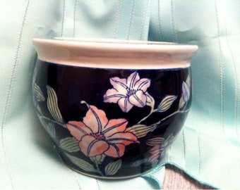 Asian Hand Painted Ceramic Planter / Chinese Ceramic Planter / Pot or Vase / Chinese Ceramic Fish Bowl / Home Decor