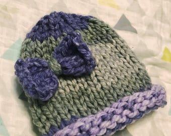 Gray and Purple Newborn Hat