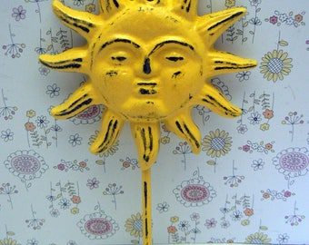 Sun Face Wall Hook Cast Iron Lemon Sunny Yellow Beach Shabby Elegance Sunshine Patio Porch Pool Decor Key Jewelry Hat Coat Keys Leash Hook