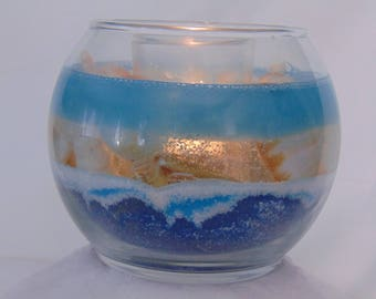 Coastal Style Bowl Ocean and Sandscape Glass Candle