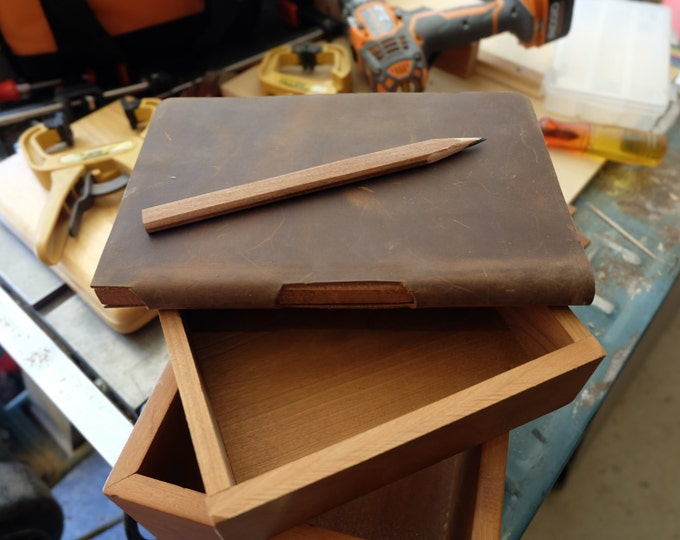 Leather Carpenter Notebook with Built-In Wood Carpenter's Pencil