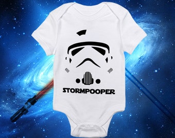 Star Wars Baby Boy Stormpooper One Piece Bodysuit Lap Shoulder Snap On-May The Force Be With You!