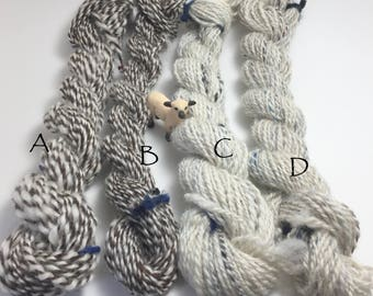 Hand-Spun 100% Wool Yarn SAMPLE HANKS A and B You Choose Hand-Washed, Carded, Spun, 2 ply, Knit, Crochet, Weave, 38-50 yds