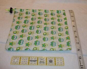 Green Owls Handmade Drawstring Bag