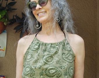 Hippie Halter Top-Green Paisley-fits most-Women's blouse,women's clothing,festival blouse,gypsy blouse,boho halter sun blouse,bathing suit