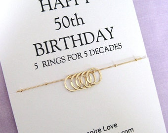 50th Birthday Gift for Women, Sister 50th Birthday Necklace. GOLD Eternity Circle, Gift for her,50th Birthday Gift for Friend, 50th Birthday