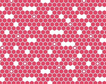 SALE ! Dandy Hexi Pink from Riley Blake Designs  > C4362-PINK < Fabric by the Yard > Dark Pink White Hexagons