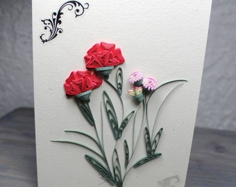 Wish card, greeting card, red carnations, quilled carnation, hemp paper, flower bouquet, blank card, quilling