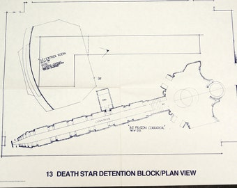 Vintage Star Wars Blueprint for Death Star Detention Block/Plan View (13) - Collectible, Home Decor, altered art and more