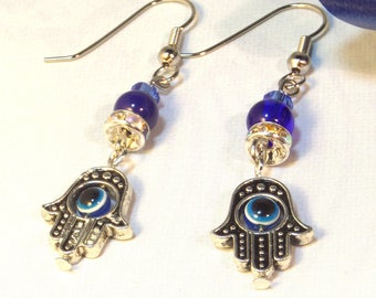 Hamsa Earrings, Hamsa Hand Earrings, Hamsa Evil Eye Earrings, Hamsa Jewelry, Hand Charm Earrings, Gifts for Her