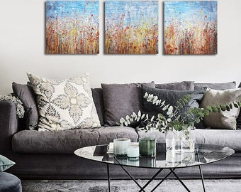 Field painting Large painting Vintage paintings Abstract art TRIPTYCH Original Landscape painting Abstract Nature painting Field art