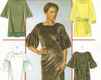 Womens Raglan Sleeve Dress and Belt Sleeve Variations OOP McCalls Sewing Pattern M5555 Size 8 10 12 14 16 Bust 31 1/2 to 38 UnCut