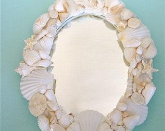 Beach Decor - Seashell Mirror - coastal/sea shells/sea shell/sea shell mirror/nautical