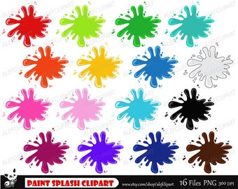 Paint Splash Clipart, Paint Splashes Clip Art,  Ink Blots Clipart, Colorful Paints Clipart, Paint Sploshes, Paint Clip Art