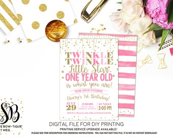 Twinkle Twinkle Little Star First Birthday Invite Pink and Gold Glitter ***Digital File*** (Twnkle-Starone)