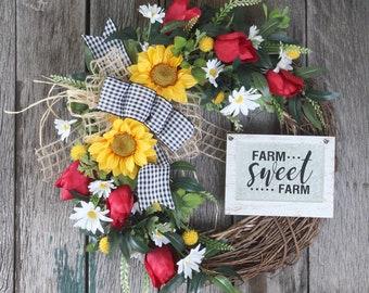 Rustic Front Door Wreath, Farmhouse Wreath, Summer Wreath, Sunflower Wreath, Grapevine Wreath, Tulips, Housewarming Gift, Masculine Wreath