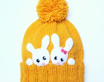 Bunny Hat, Kids Winter Hat, Knit Girls Hat, Rabbit hat, Beanie Hat, Pom Pom Hat, Easter Hat, Animal Hat, Yellow White, Cute Hat, White Bunny