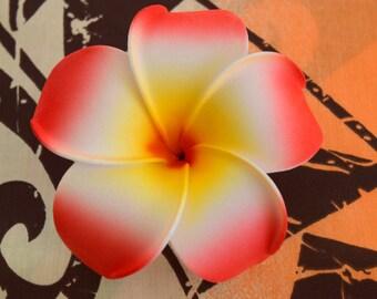 Red-Orange  Plumeria Hair Flower Clip; Hawaiian Hair Flower, Flower Gift, Hair Accessories, Gift for Her, Foam Hair Flower.