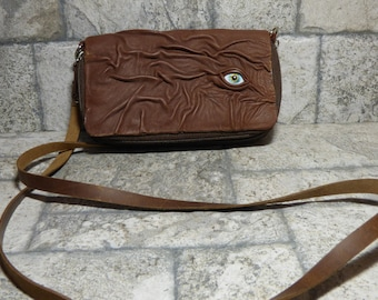 Wallet Purse Cross Body With Eye Hocus Pocus Brown Leather Detachable Strap Convertible 397