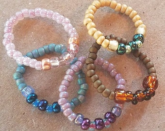 Seed bead stacking rings, stacking rings, beaded rings, set of five rings, set of rings, seed bead rings, boho jewelry, beaded jewelry