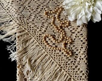 Vintage Crochet Shawl, Wedding Shawl, Tea Dyed Crochet Shawl, Bridal Shawl, Wedding, Bohemian, Gypsy, Hippie