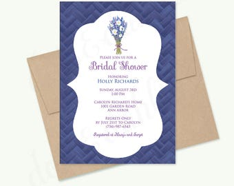 Bridal Shower Invitation, Birthday Party, Wedding Invitation, Free Shipping - Lavender Daisy Bouquet - Printed or DIY Printable