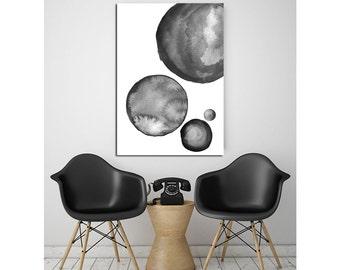 Abstract Watercolor Circles - Black Dots / Bubbles - Texture Scandinavian Design Wall Art Modern Minimalist Black and White Printable Poster