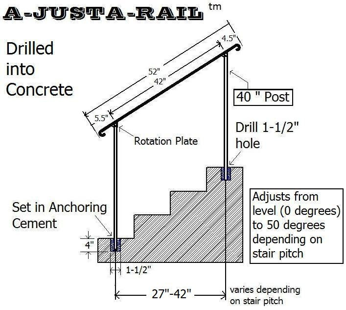 A Justa Rail 52 Wrought Iron Step Railing For Drilling