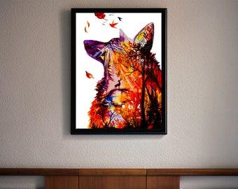 Autumn watercolor print, Watercolor wall art, Watercolor art, Watercolor fox, Fox print, Fox art print, Fox decor, Fox wall decor, Fox gift