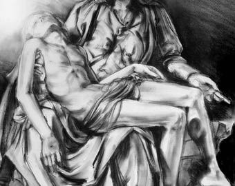 religious original art - Pieta charcoal drawing - Holy Mary and Jesus original drawing - devotional art - Pieta sculpture by Michaelangelo