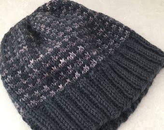 Knit gray hat, gray beanie knit, gray hat knit, gray knit beanie, purple beanie, knit purple hat, knit striped beanie gray, striped hat gray