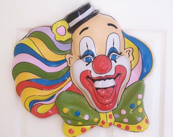 Large Vintage Circus Clown Plastic Wall Decoration