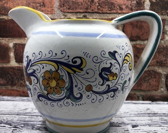 Deruta Ricco  Hand Painted Art Pottery   Ceramic Pitcher  Made in Italy