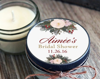 12 - 4 oz Soy Candle Bridal Shower Favors - Holiday Label - Floral Bridal Shower Favors - Rustic Bridal Shower Favor - Mason Jar Favor