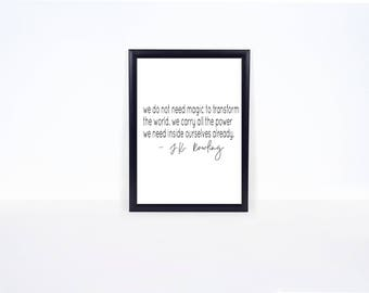 Harry Potter Print - J.K. Rowling Quote Print - Quote Sign - Gallery Wall