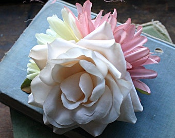 Blushing Fairy Cluster Fascinator Clip  - Vegan, Tribal, Belly Dance, Wedding, Bridal, Pin Up, Hair Garden, Pink, White, Rose, Daisy