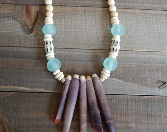 Natural wood beads with sea urchin spikes and aqua seaglass beads, bone beads, layering necklace, beach chic, summer fashion