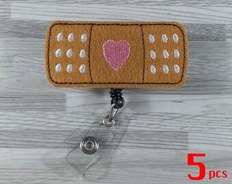 Set 5pcs Band-Aid Badge Reels Retractable Badge Badge Pull Badge Clip Nurse Badge Reel ID Badge Holder RN Badge Reel