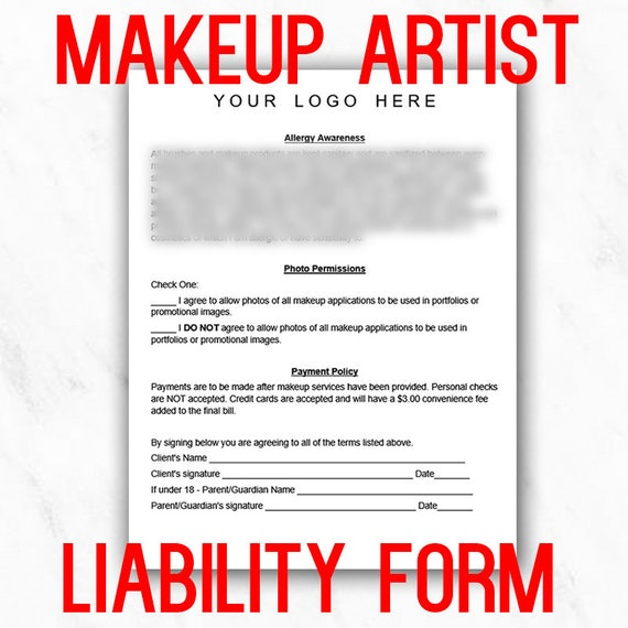 Professional Makeup Artist Liability Waiver Form Instant