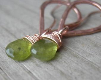 Petite Vesuvianite Rose Gold Fill Earrings