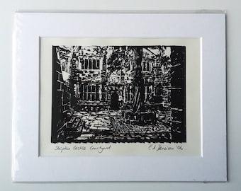 Skipton Castle Conduit Courtyard - Original Lino Print