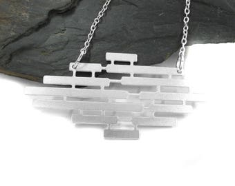 Silver Bars Necklace, Silver Statement Necklace, Geometric Jewelry, Geometric Necklace, Bohemian Necklace, Rhombus Necklace, Silver Pendant