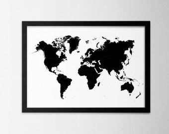 White poster etsy world map poster print framed or unframed poster print affiche plakat art gumiabroncs Image collections