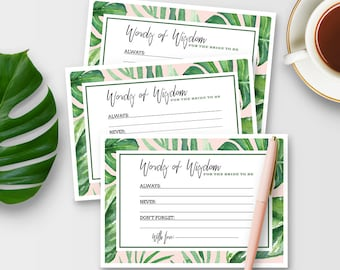"""Words of Wisdom Cards for Bridal Shower - 5"""" x 7"""" and 4"""" x 6"""" - Tropical Theme - Instant Printable Download"""