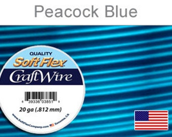 20 Gauge Peacock Blue Silver Plated Wire, Soft Flex, Tarnish Resistant,  Round, Supplies, Findings, Craft Wire