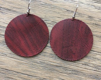 Red circle distressed leather earrings