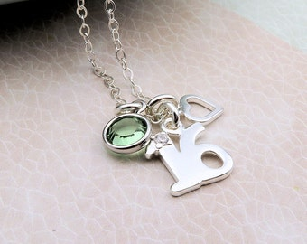 Silver 16th Birthday Necklace with heart, sterling silver, sweet sixteen, custom birthstone crystal, happy birthday gift